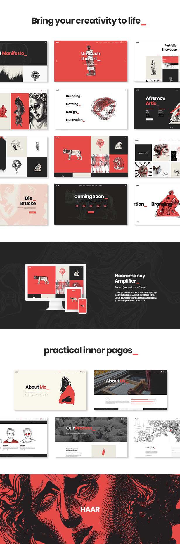 WordPress theme Haar - A Portfolio Theme for Designers, Artists and Illustrators (Portfolio)
